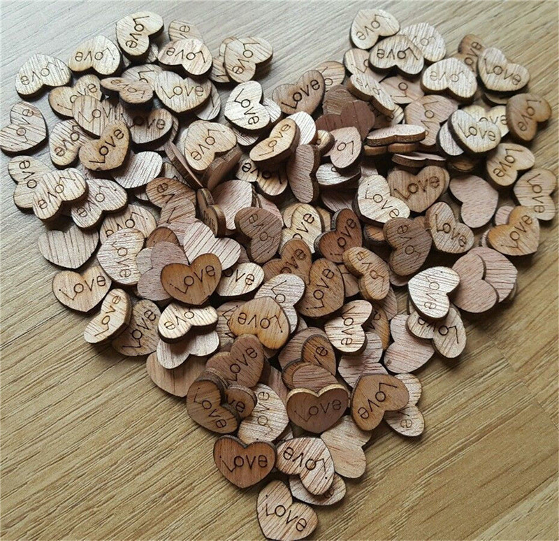 100pcs wholesale wooden wood love heart wedding table for Wholesale wood craft cutouts