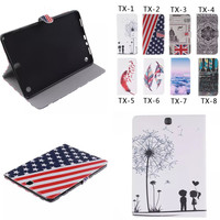 TX Fashion Painted Flip PU Leather Cover For Samsung Galaxy Tab A 9 7 Inch T550