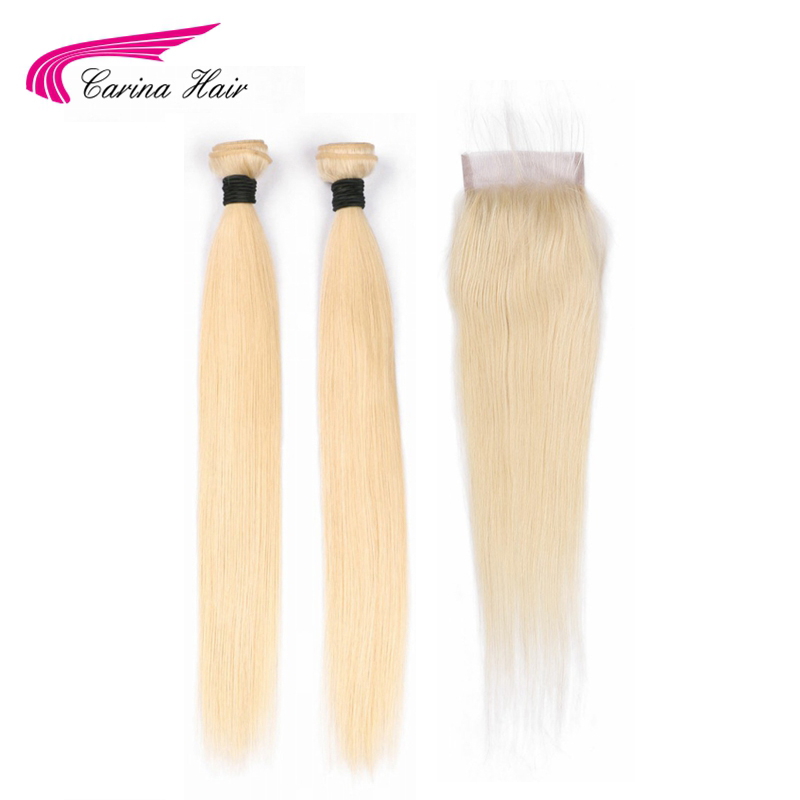 Carina Hair 613 Remy Human Hair Weft 2 Pcs with 4*4 Lace Closure Malaysian Straight Hair Bundles Hair with Top Closure image