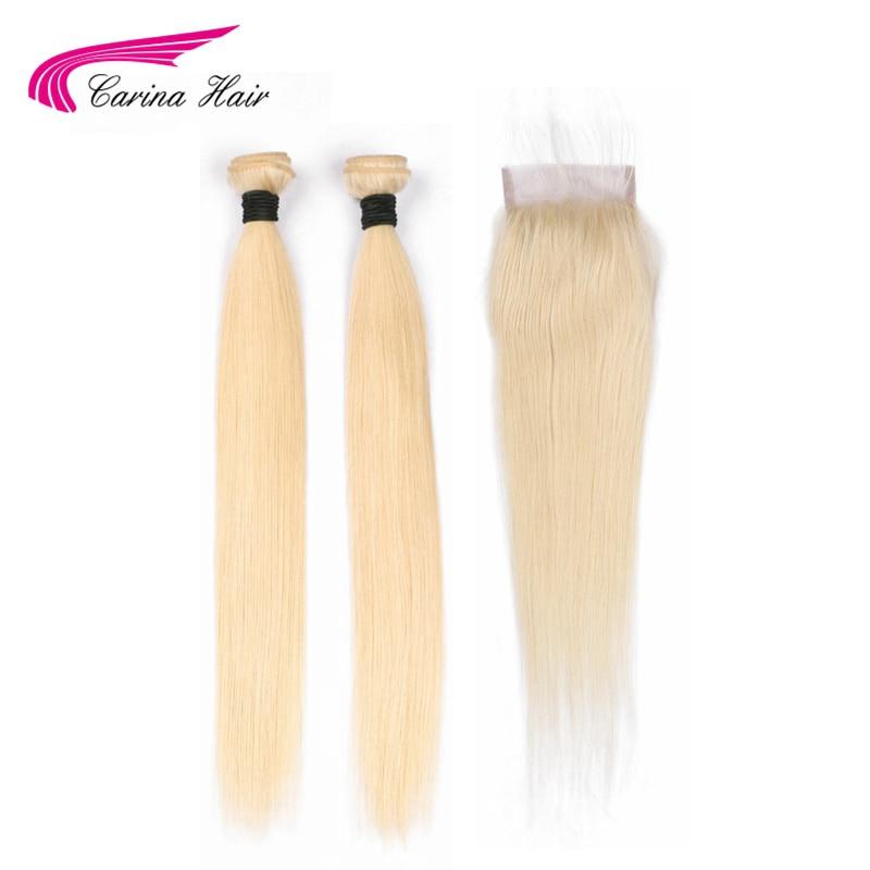 Carina włosów 613 Remy ludzki włos włosy wątek 2 sztuk z 4*4 koronka zamknięcie malezyjskie proste włosy wiązki włosów z góry zamknięcie w 3/4 pasma z siateczką od Przedłużanie włosów i peruki na AliExpress - 11.11_Double 11Singles' Day 1