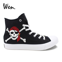 Wen Classic Black Shoes Hand Painted Design Pirates of The Caribbean Skull High Top Laced Men Women's Canvas Sneakers Skateboard