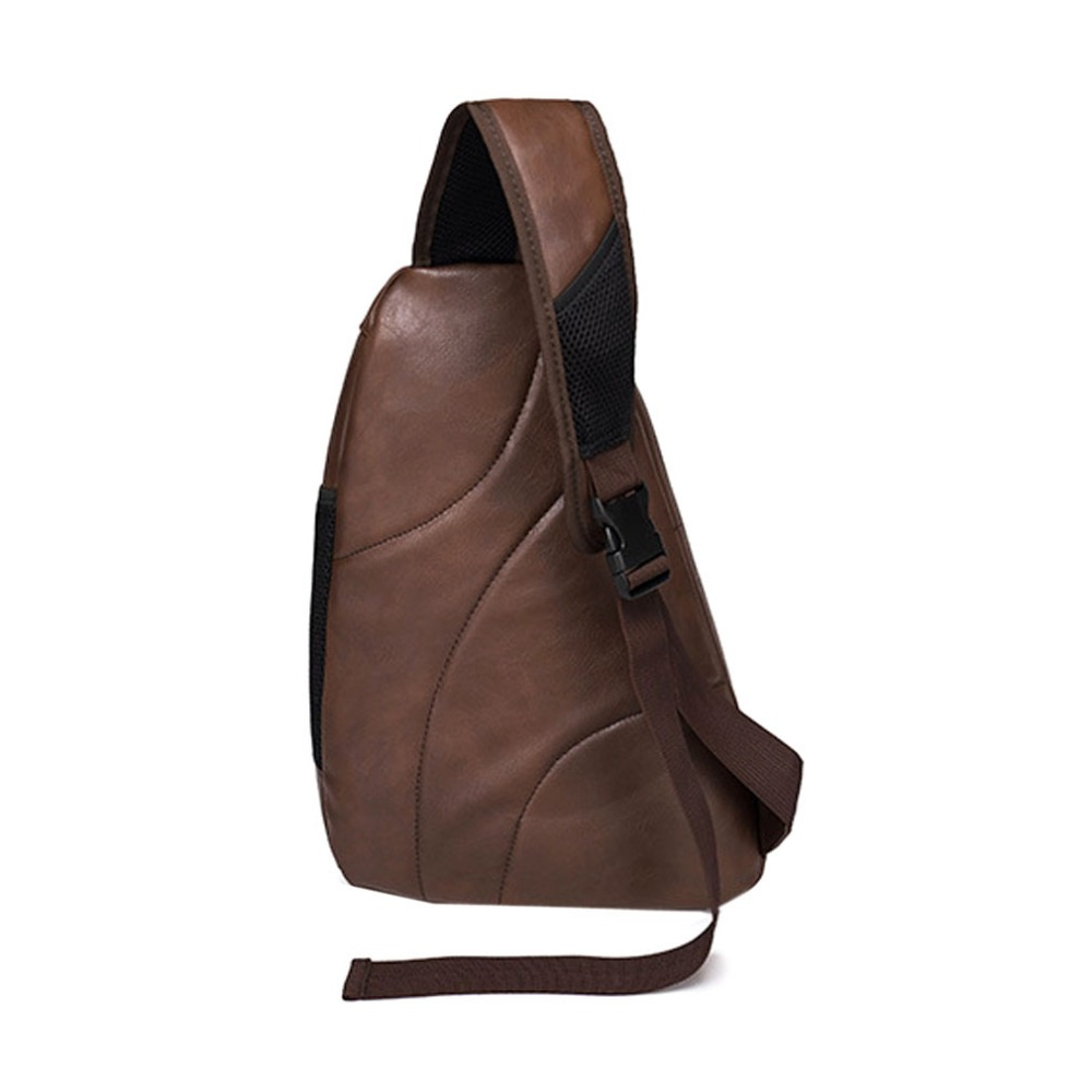 Männer PU Leder Vintage Reise Reiten Unregelmäßigen Dreieck Messenger Schulter Sling Brust Casual Tasche
