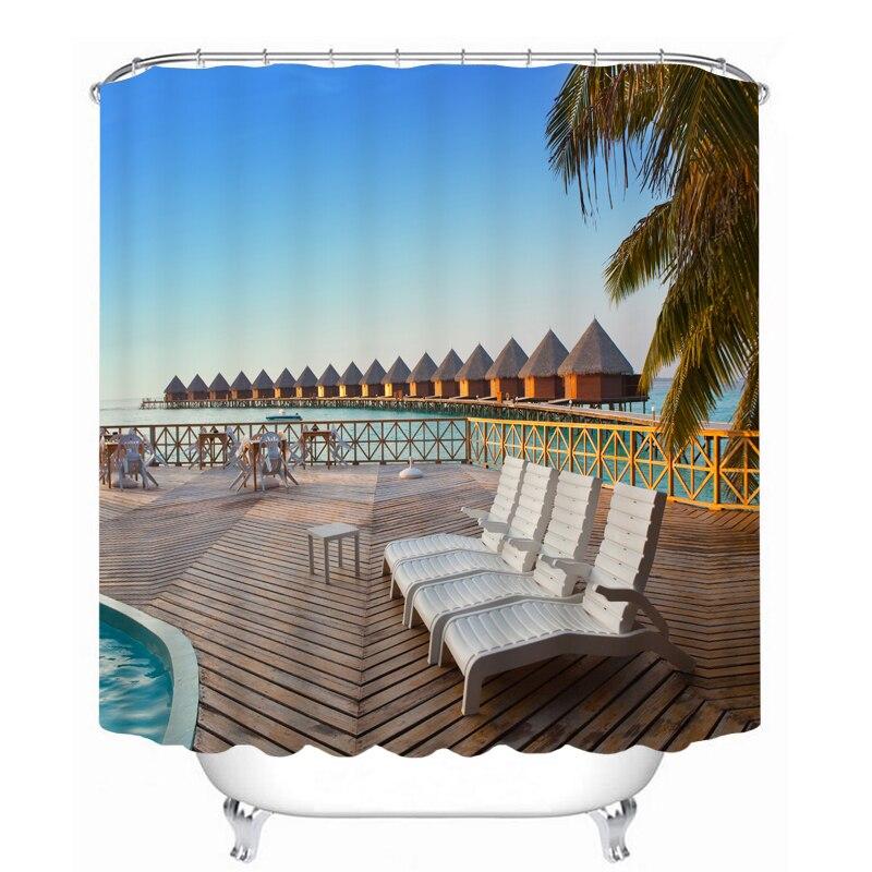 MYRU 3D Print Waterproof Beach Beauty Shower Curtains Bath
