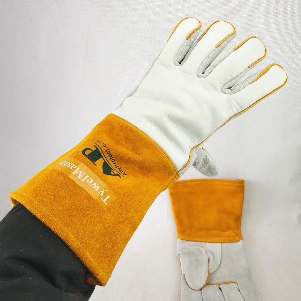 Tools : Welding Gloves 14inch 36cm Split Cowhide  amp  Calfskin Leather Reinforced Thumb amp Palm CE MIG Stick TIG Welding Worker Gloves
