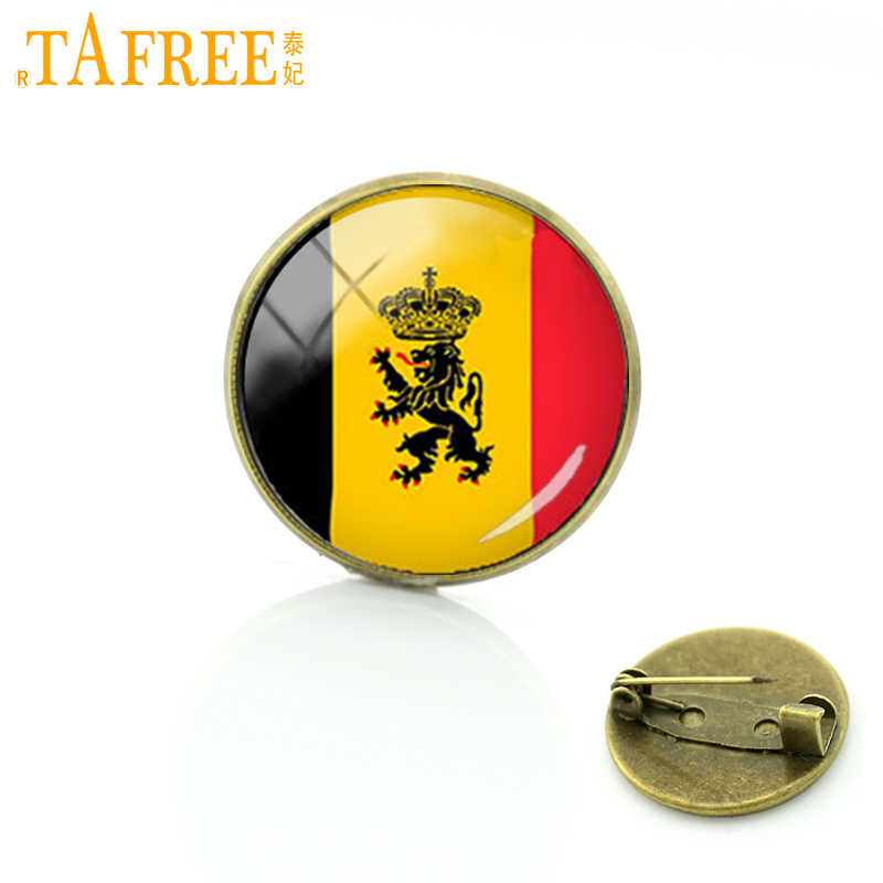 TAFREE Belgium State Flag art brooches pin Best Deals Ever team logo badges Exquisite Classic Men's Sports brooch jewelry T256