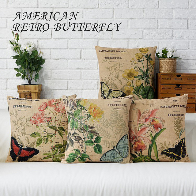 Vintage Decorative Throw Pillows Living Room Couch Seat Floor Floral Chair Cushions Outdoor Pillow