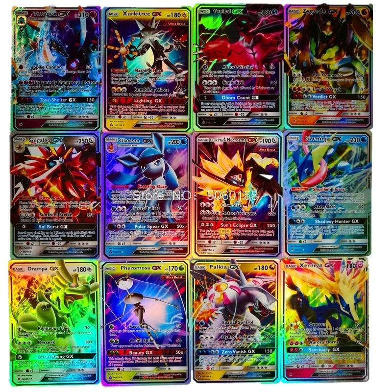 25 50pcs 100 pièces 200 pièces GX MEGA cartes brillantes jeu bataille Carte cartes à collectionner jeu enfants Pokemons jouet