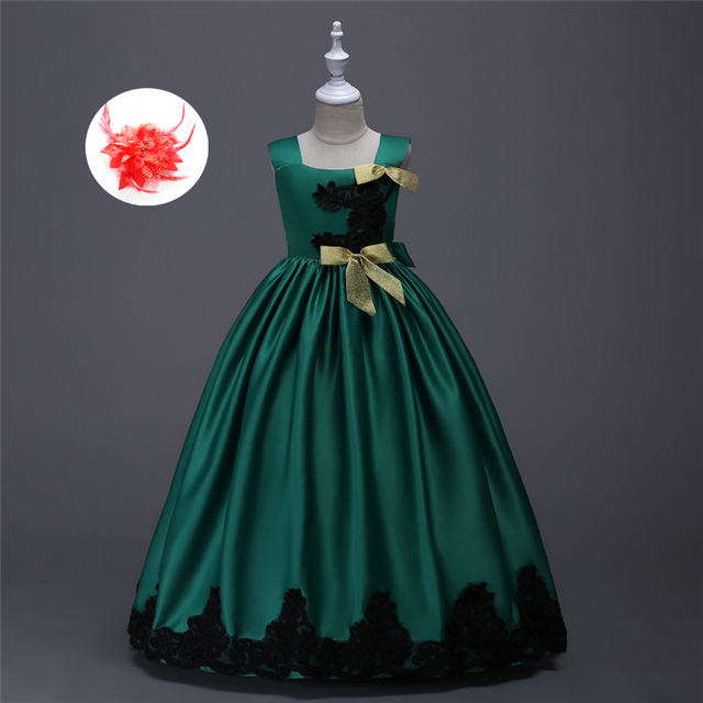 Children Pageant Evening Ball Gowns S Party Dress Kids Elegant Glitz Red Yellow Blue Emerald Green