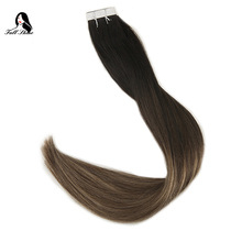 Ship From US Full Shine Tape Hair 20 Pcs 50 Gram Color #1B/6/27 Ash Blonde Remy Dip Dye Extension De Cheveux human hair