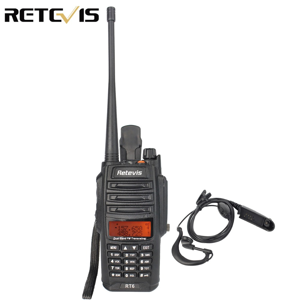 "Waterproof IP67 Retevis RT6 ווקי טוקי 5/3 / 1W VHF + UHF136-174 + 400-520Mhz חם רדיו HF מקמ""ש רדיו דרך שני A9114A"