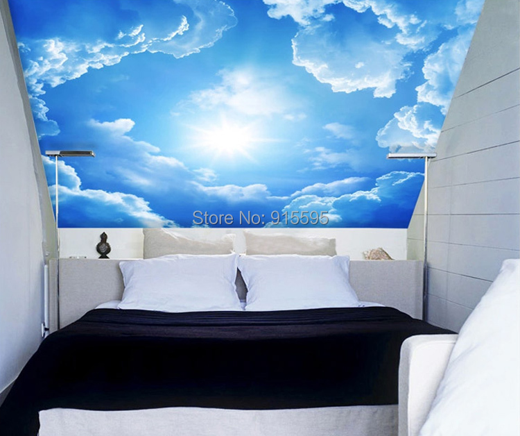 3D Wallpaper Blue Sky White Clouds Mural For Living Room Bedroom ...