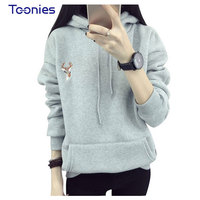 2016 Autumn Winter Hoody Fashion Deer Embroidery Hooded Tracksuits Hoodies For Women Casual Sweatshirts Hoodie Harajuku