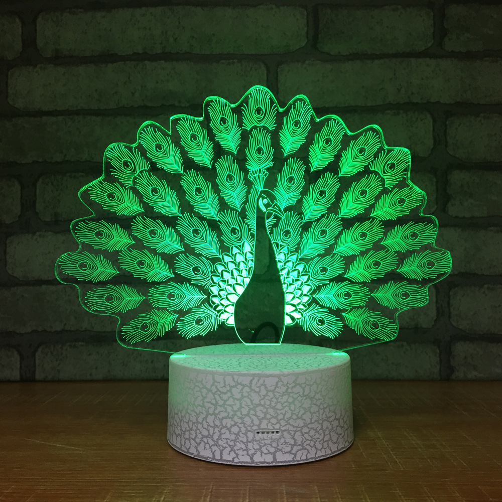 Peacock Night Light Lamp 3D LED Lamp 7 Colorful Table Lamp For Kids Christmas Gift White Base with Touch Switch / Remote цена