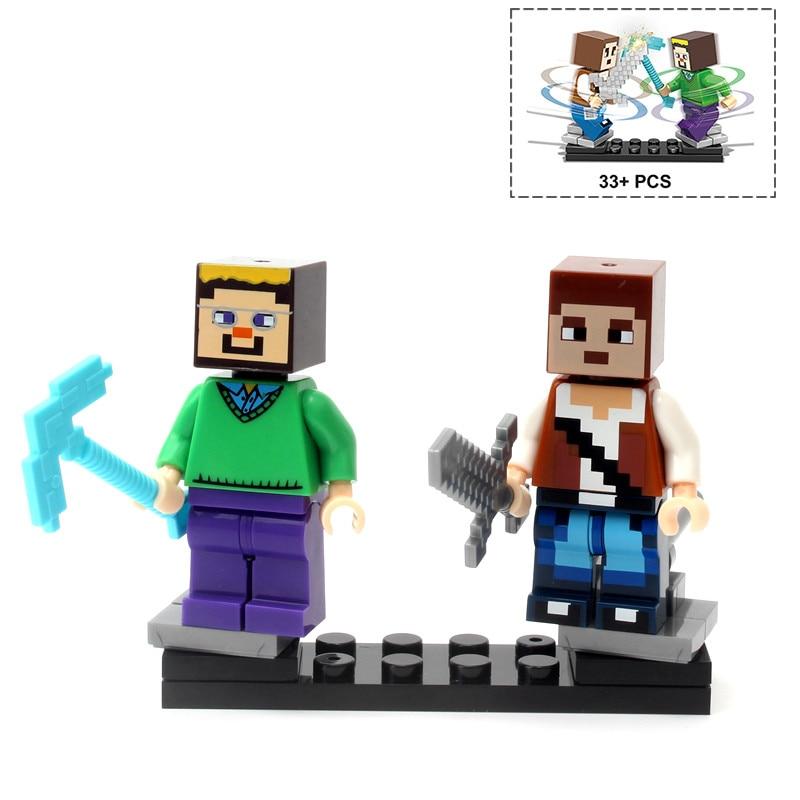 Single Sale Minecrafted Style Zombie Steve figure DIY Building Blocks Toys Compatible Legoings Model 1