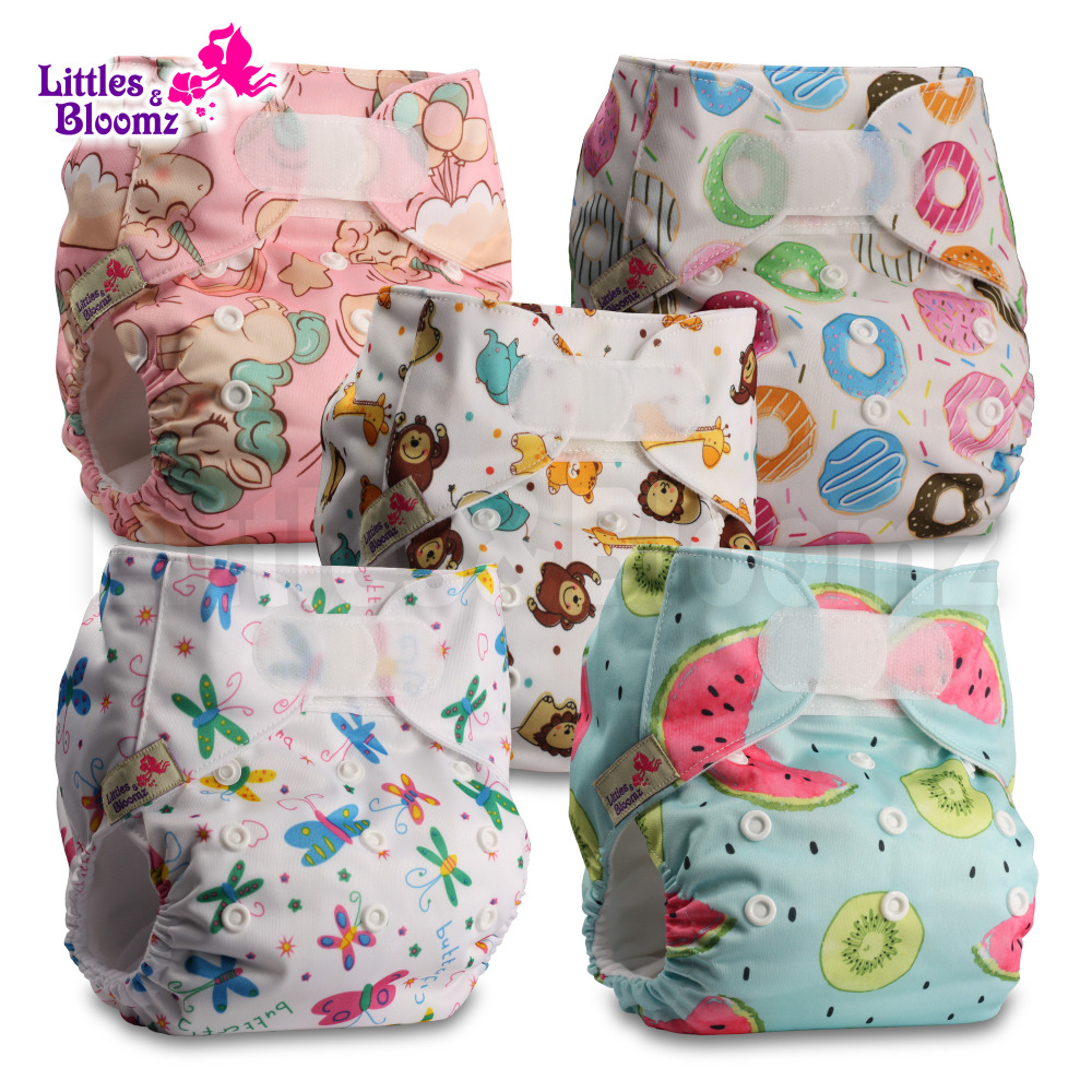 5pcs/set STANDARD Hook Loop Reusable Washable Nappy Diaper Cover Wrap Baby,5 nappies/diapers and 5 microfiber inserts in one set-in Baby Nappies from Mother & Kids