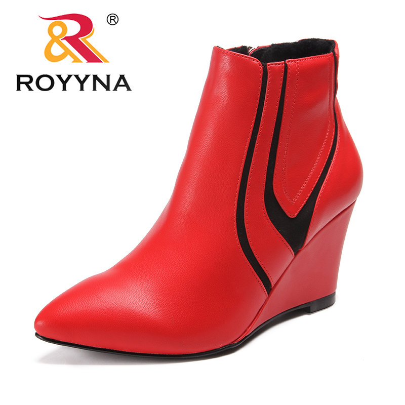 ROYYNA New Fashion Style Women Boots Wedges Women Ankle Boots Pointed Toe Women Winter Shoes Comfortable Light Free Shipping new arrival black leather and suede ankle boots women pointed toe short boots wedges boots metal buckles decorated free shipping