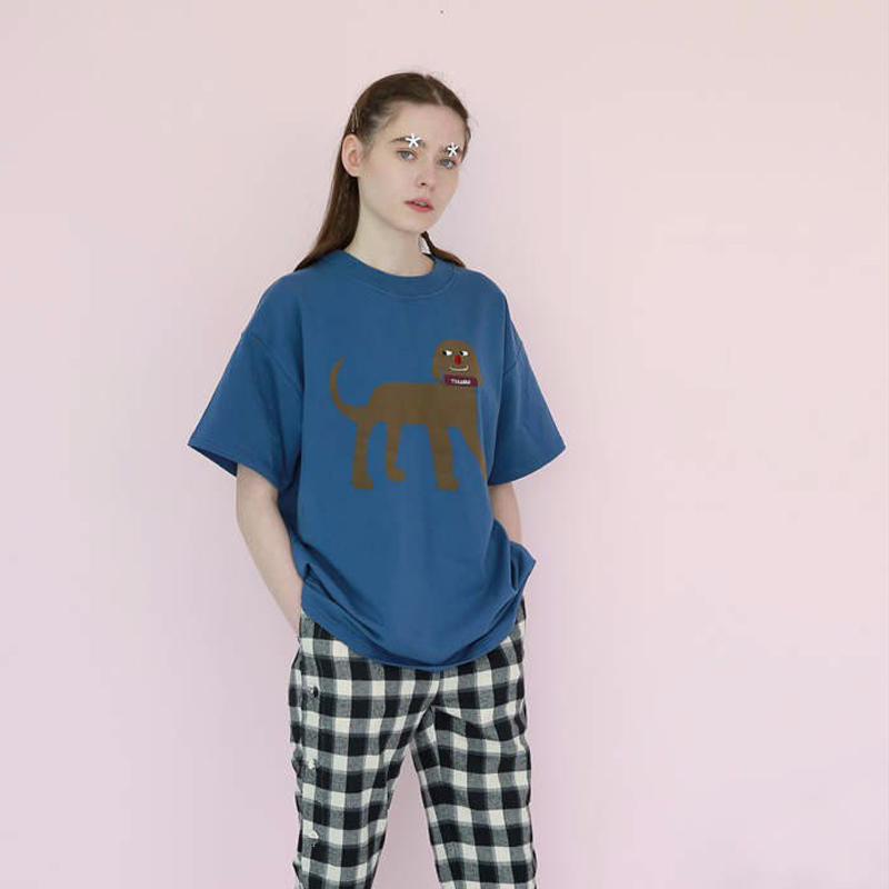Fashion Loose Tee Shirt For Female Women Blue Tops O Neck Short Sleeve Cute Dog Printed