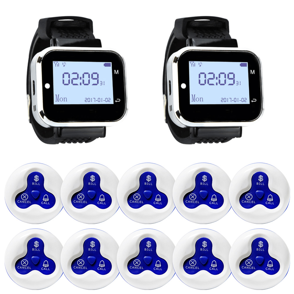 JINGLE BELLS Wireless Calling System 10 Calling Buttons 2 Watch Pager for Restaurant cafe bar Wireless