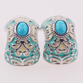 Turquoise Enamel 925 Sterling Silver Crystal Earrings TE406