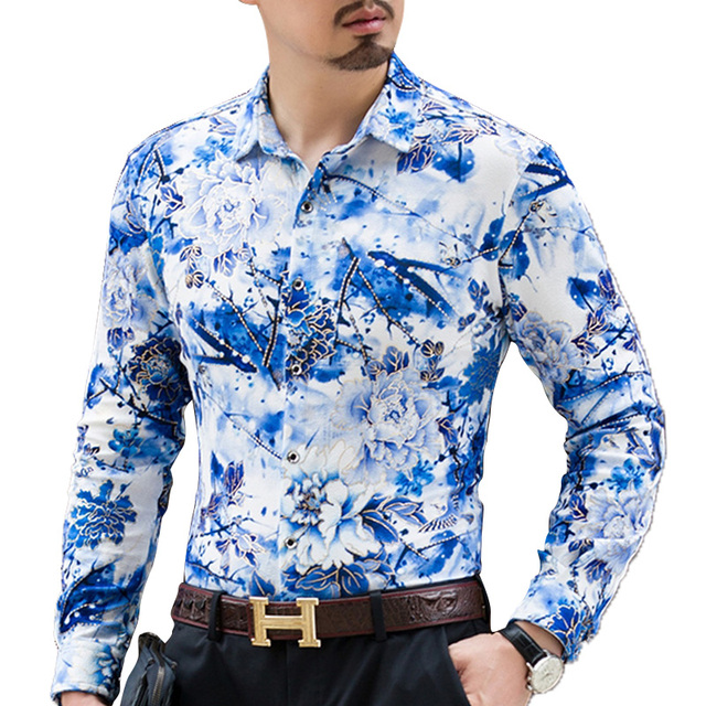 a32576a5a4a Новый весна-осень Повседневное рубашка с цветочным узором  Высококачественная Мужская рубашка с длинным рукавом модная