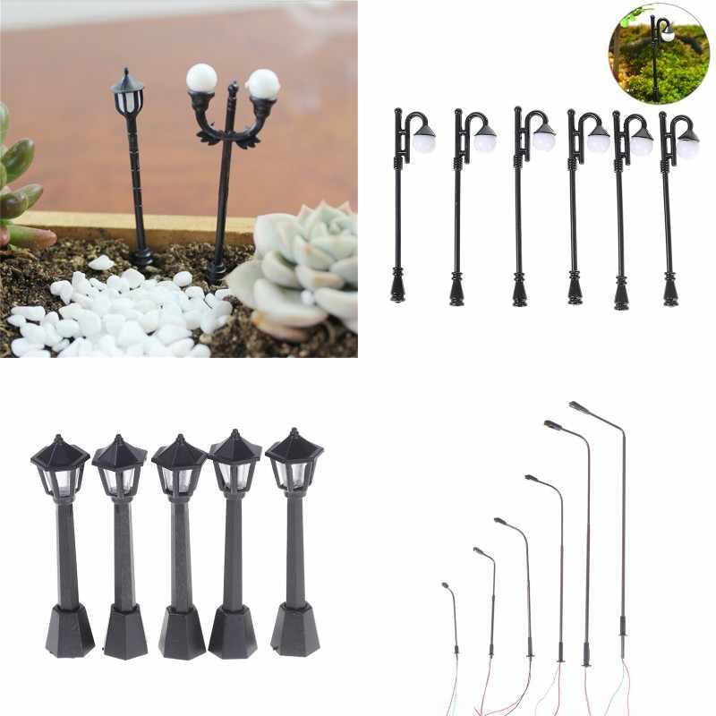 1/3/5 sztuk modelu lampy ogrodowe miniatury czarny Model układ pojedynczy klosz światła latarnia światło krajobrazu modelu dekoracji