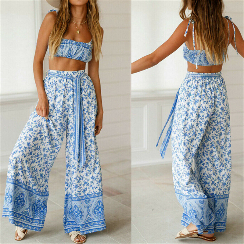 Womens Casual Boho Outfit Set Floral Summer Crop Tops Bra High Waist Wide Leg Pants 2 Piece Loose Suit