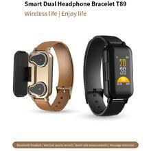 T89 TWS двойной беспроводной Bluetooth 5,0 наушники спортивные наушники устройство слежения за кровяным давлением для мужчин и женщин для iphone XR Android