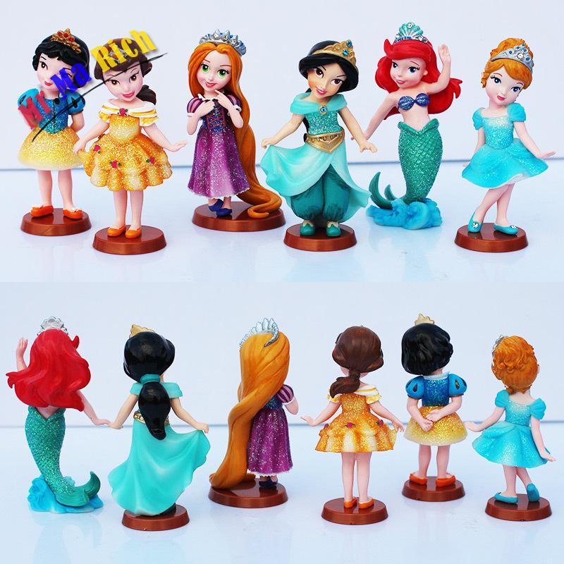 5set/lot 1set=6pcs Princess Snow White Cinderella Rapunzel Jasmine Mermaid Thinkbell Bella Ariel Figure Doll The Little Mermaid