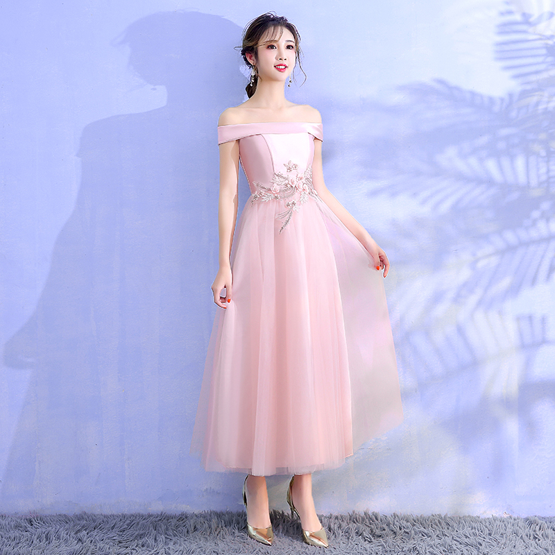 Pink Colour Bridesmaids Dresses For Party And Wedding  Dress Sleeveless Back Of Bandage Elegant Woman Dresses