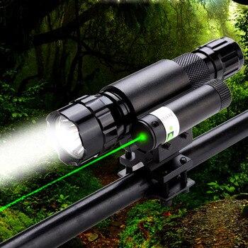 CWLASER 5 mW 532nm portée de visée Laser vert et lampe de poche LED ensemble combiné avec monture (noir)
