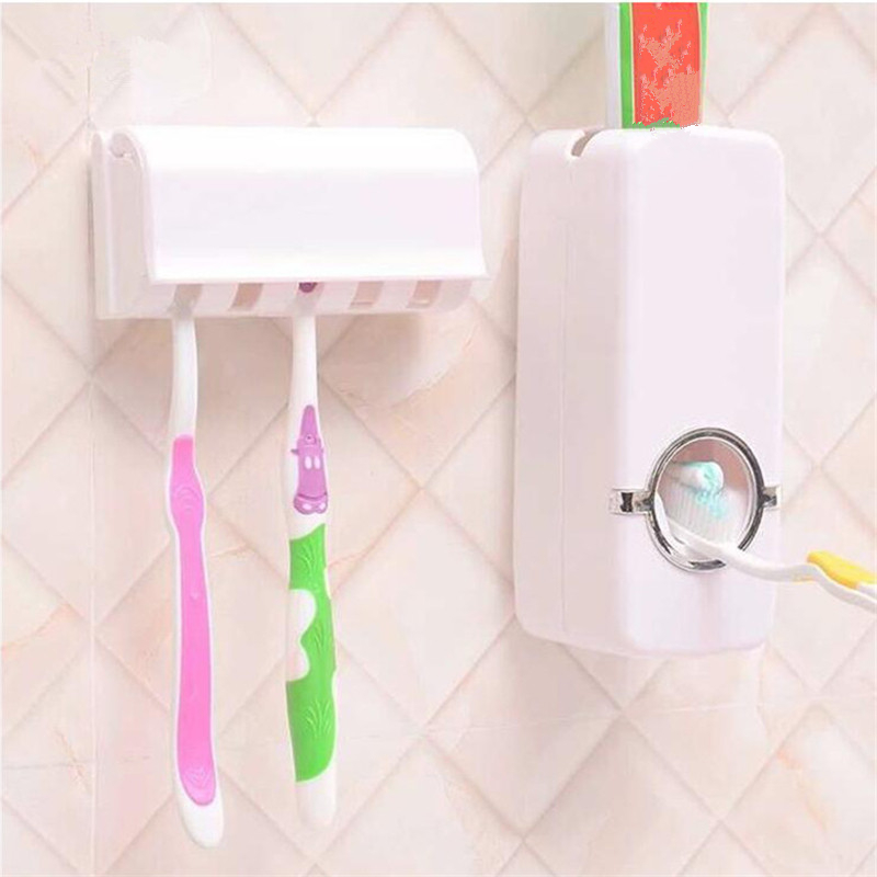 Toothbrush Shelf Toothpaste Dispenser For Household Bathroom Items Storage Boxes Accessories Toilet Waterproof Wall Organizer