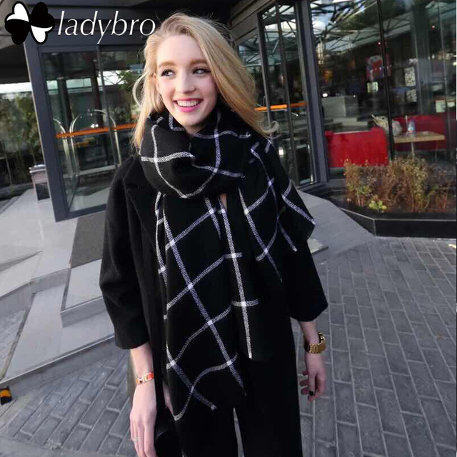 Ladybro Europe Classic Black White Grid Za Scarf Women Imitation Cashmere Scarf Tartan Plaid Scarf Blanket Oversized Wrap Shawl