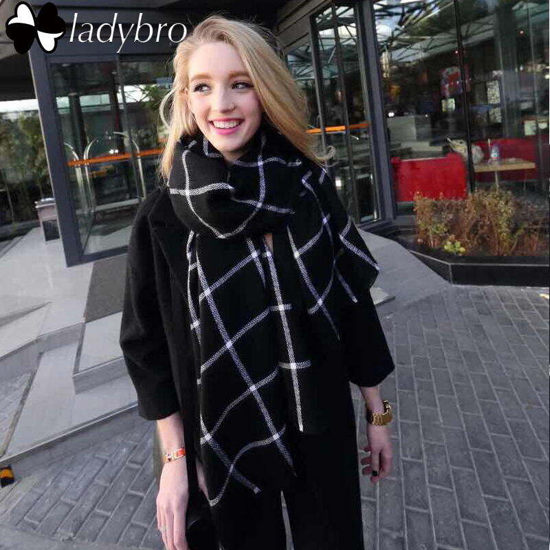 Ladybro Europe Classic Black White Grid Za Scarf Women Imitation Cashmere Scarf font b Tartan b