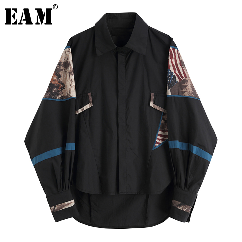 [EAM] 2020 New Spring Autumn Turn-down Collar Long Sleeve Print Pattern Big Size Loose Shirt Women Blouse Fashion Tide JX978