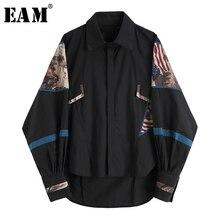 [EAM] 2020 جديد ربيع الخريف بدوره إلى أسفل طوق طويلة الأكمام طباعة نمط كبير الحجم قميص فضفاض المرأة بلوزة الموضة المد JX978