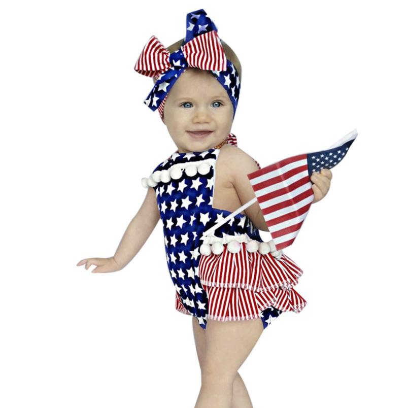 Newborn Baby Girl 4th Of July Star Stripe Flag Clothes Romper Jumpsuit Outfits D50