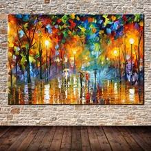 Большой расписанную Lover дождь улица дерево лампа пейзаж маслом на холсте Wall Art картинки для гостиной домашнего Декор