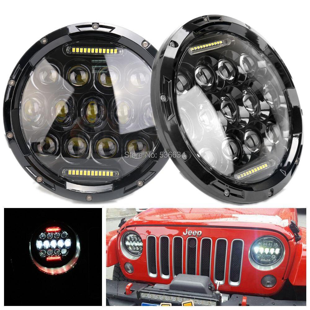купить  1 Pair 7 Round Inch LED Headlights Daymaker Red DRL For Jeep CJ-8 Scrambler,For Jeep Wrangler LJ Unlimited  онлайн
