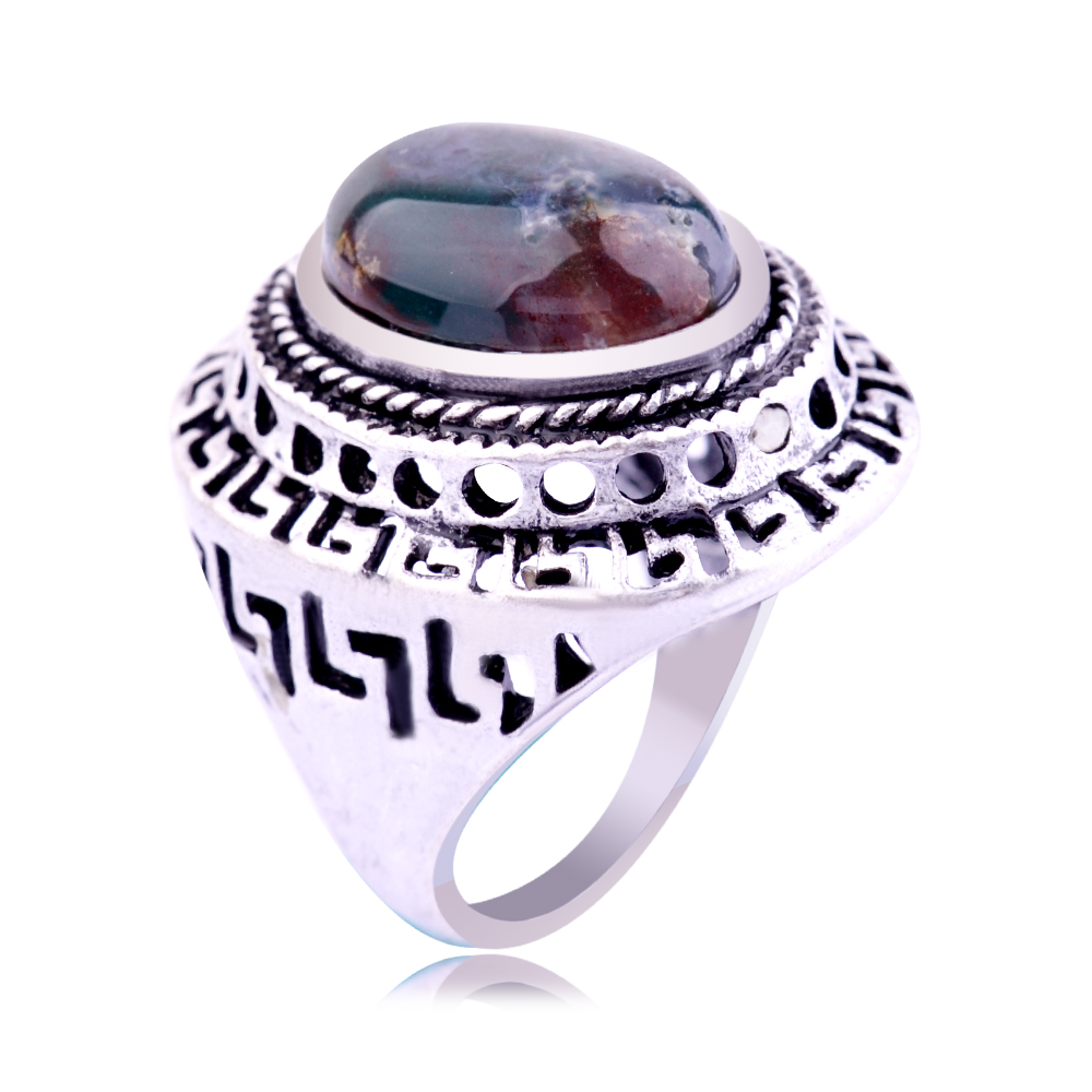 Natural India Agate Lapis Lazuli Malachite Stone Setting Gemstone Antique Silver Ring Hollow Out Pattern Finger Rings For Women