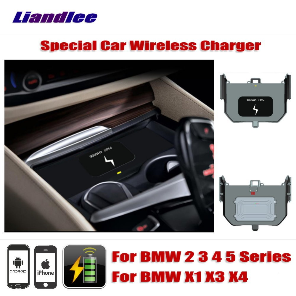 Liandlee For BMW 2 3 4 5 Series X1 X3 X4 Special Car Wireless Charger Armrest Storage For iPhone Android Phone Battery Charger