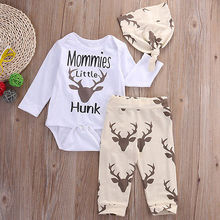 2016 kids boys clothes baby Deer clothing sets Newborn Toddler Baby Boy Girl Romper T Shirt+Pants Hat 3PCS Outfits Set Clothes(China)