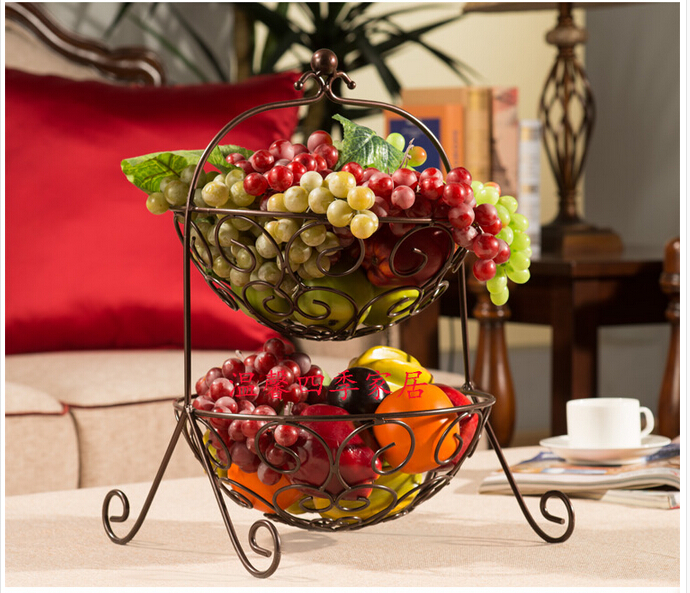 Fruit Bowl Wrought Iron Two Layers Of Basket Fashion Cake Sanitary Metal In Stands From Home Garden On Aliexpress Alibaba