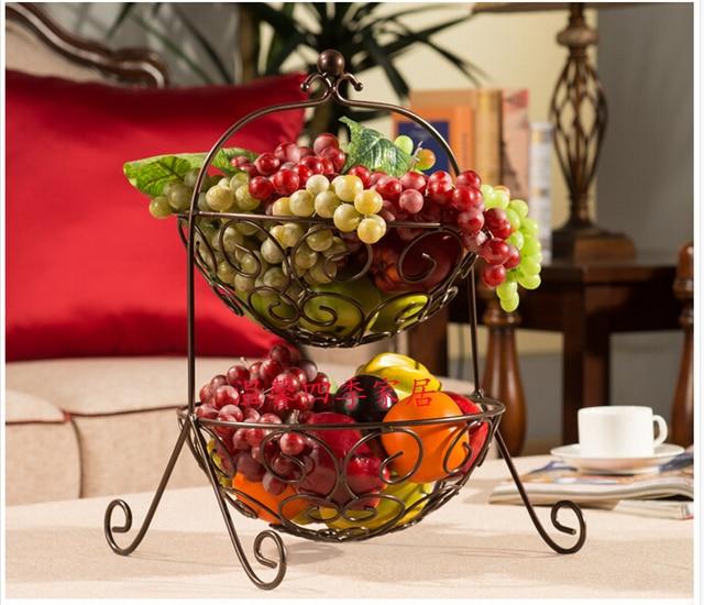 Fruit Bowl Wrought Iron Two Layers Of Basket Fashion Cake Sanitary