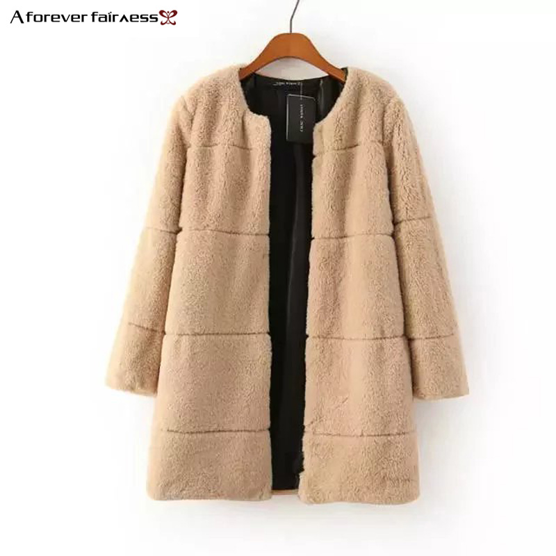 A Forever 2018 Winter Coat For Women Faux Fur Fashion Round Neck Long Sleeves Buckle Coat Thicker Warm   Trench   Outerwear M-551
