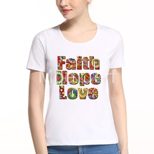 Colorful Faith Hope Love Letter Design 2017 Summer Fashion Women T Shirt Novelty Graphic Crew Neck Short Sleeve Tops Tee L10-F-2