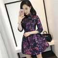 2017 New Female Cotton Cheongsam Dress Chinese Wedding Traditional Women Lace Formal Long Dresses Patterns Broadcloth Clothing
