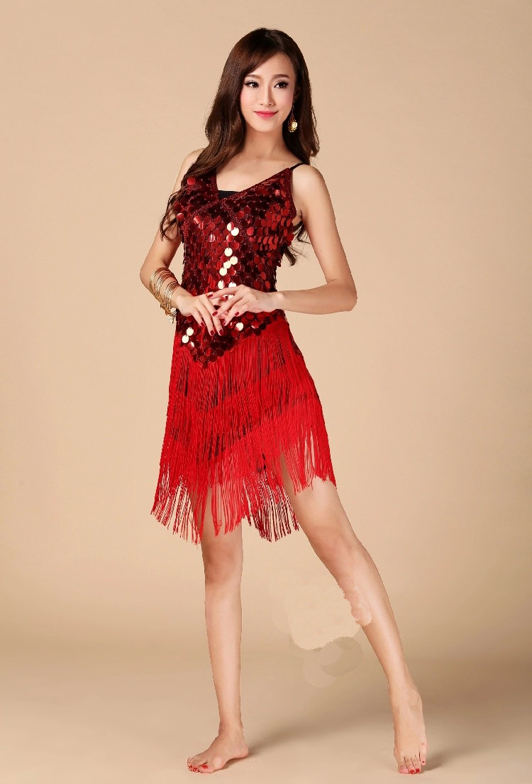 Nice Sequin Tassel Mixed Latin Dance Outfits Dress Sexy Latin Long Skirt Dancing Party Ballroom Clothes Suits  Size