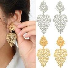 BONLAVIE Silver Color Gold Color Leaf Shape Long Hollow Drop Earrings Luxury Bridal Wedding Jewelry for
