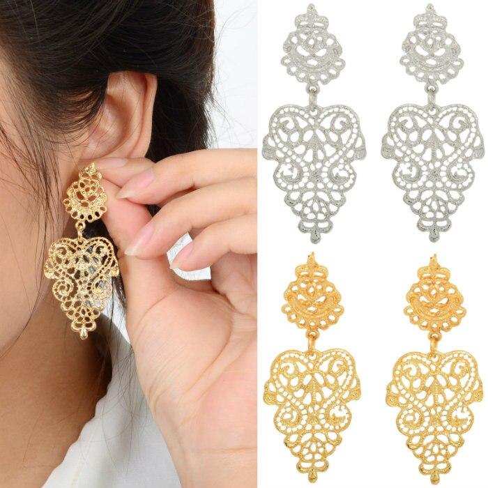 BONLAVIE Silver Color Gold Color Leaf Shape Long Hollow Drop Earrings font b Luxury b font