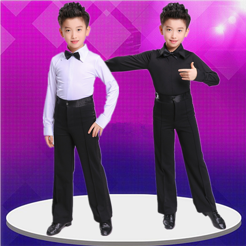 Boys  Latin dance costumes Latin dance competition clothing boys long sleeves